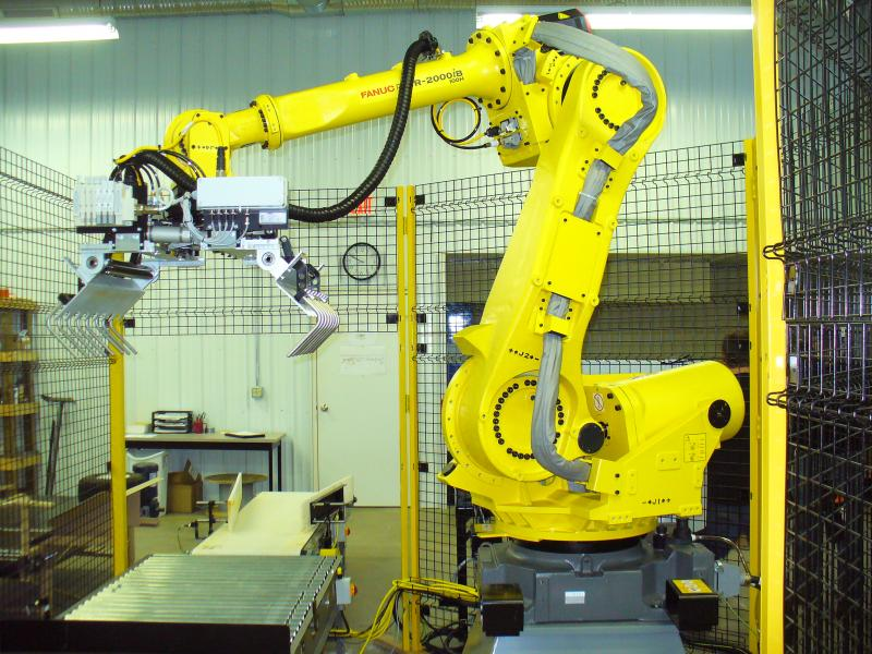 Base Modu-Cell robotic bag palletizer for food ingredients in SE Wisconsin
